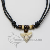 Bull shark tooth necklace eco coconut wood beads c46