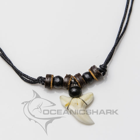 Blue shark teeth necklace wood brown black c48