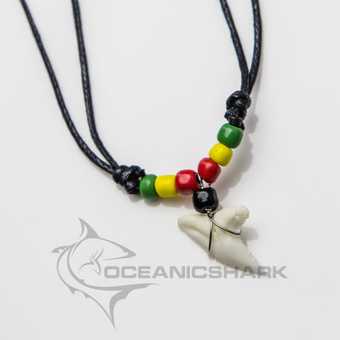 Blue shark tooth necklace jamaica bob marley rasta c5