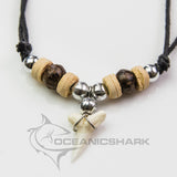 Mako Shark Side Tooth With Coconut Wood Beaded Necklace c54