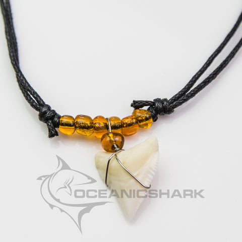 Bull shark tooth predator amber orange glass bead c62