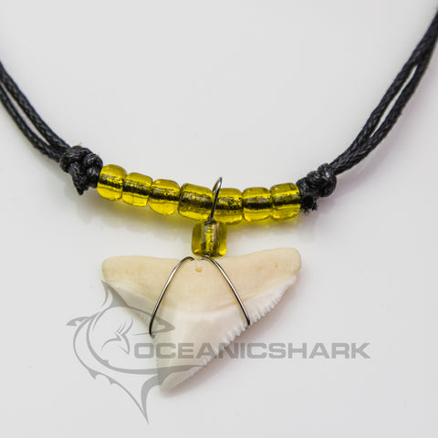 Bull shark tooth necklace sparkly yellow party favor c65