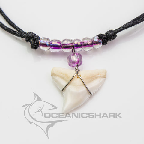 Bull shark tooth necklace for sale neon purple c66