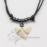Bull shark teeth necklace for sale electric gloss grey c69