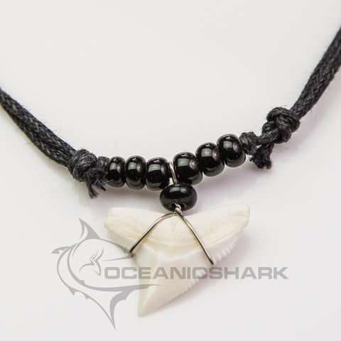 Bull shark tooth necklace black blown glass seed bead c72