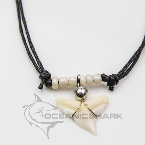 Bull shark tooth necklace creamy pearl c73