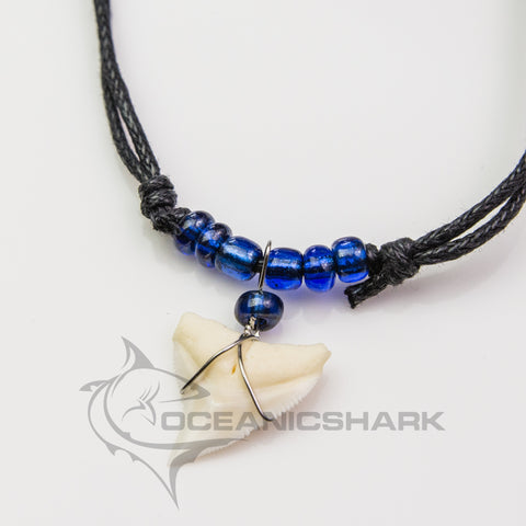 Bull shark tooth necklace dark neon blue glass bead c74