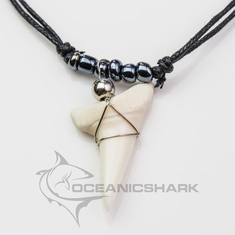 Mako shark teeth necklace metallic grey c77