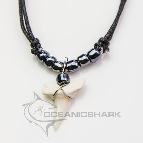 Mako shark teeth necklace gun metal grey c87