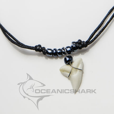 Shark teeth necklace for sale gun metal grey glass bead c9