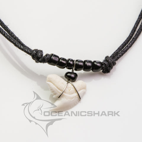 Tiger Shark Galeocerdo Cuvier Black Glass Beaded Necklace c91