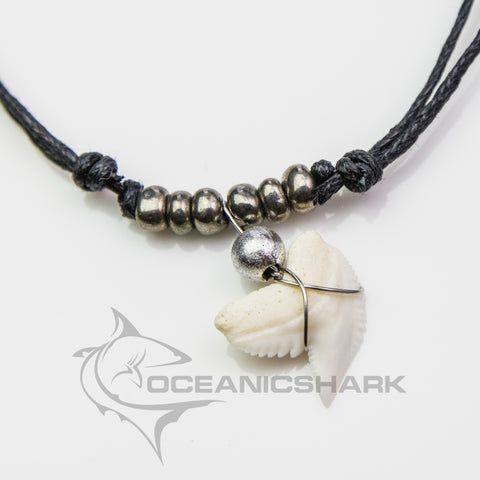Tiger shark attack teeth necklace man eater silver grey c92