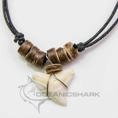 Bull shark tooth necklace natural wood c95