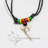 Mako shark tooth timber crafted rasta beads c97