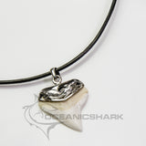 Bull Shark tooth solid silver sculpture carved necklace men's man Fathers day gift s3
