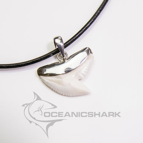 Tiger shark tooth necklace silver pendant men's s22