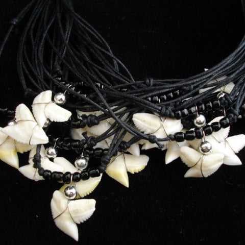 Tiger Shark Galeocerdo Cuvier Black Glass Beaded Necklace