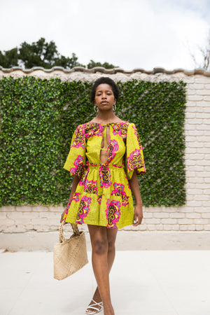 Imani Mini Dress in Lemon