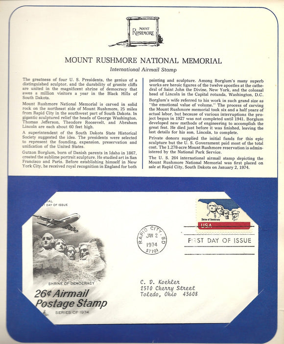 01 02 1974 FDC WH Mount Rushmore National Memorial
