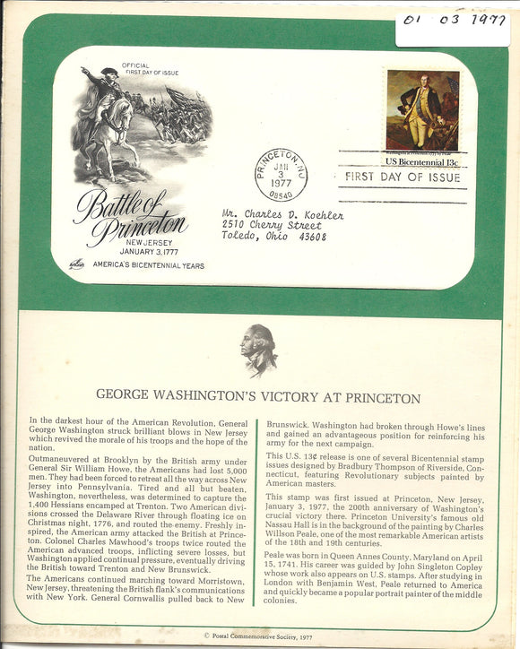 01 03 1977 FDC WH Battle of Princeton