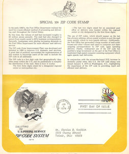 01 04 1974 FDC WH Zip Code System