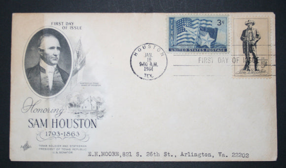 01 10 1964 FDC Sam Houston