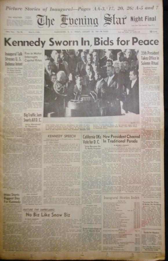 01 20 1961 News John F Kennedy Sworn In