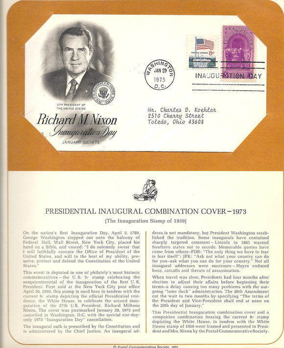 01 20 1973 FDC WH Richard  Nixon Inauguration Day