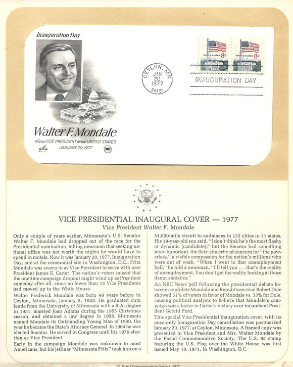 01 20 1977 FDC WH Walter F Mondale VP Inaugural Cover