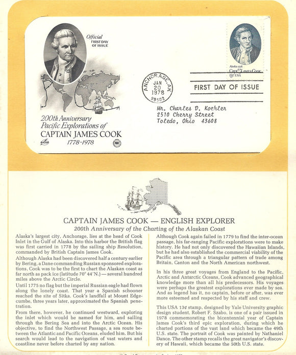 01 20 1978 FDC WH Captain James Cook