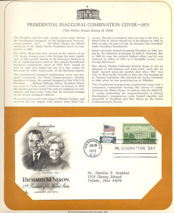 01 20 1973 FDC WH Richard M Nixon Inauguration Day