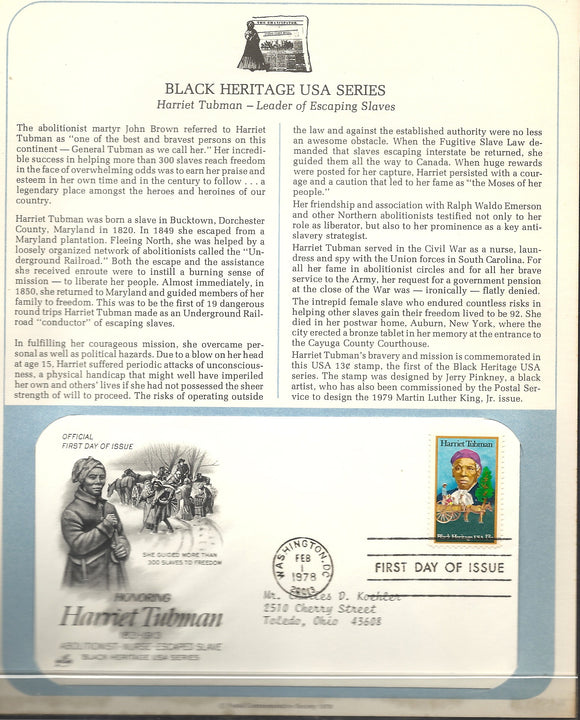 02 01 1978 FDC WH Harriet Tubman