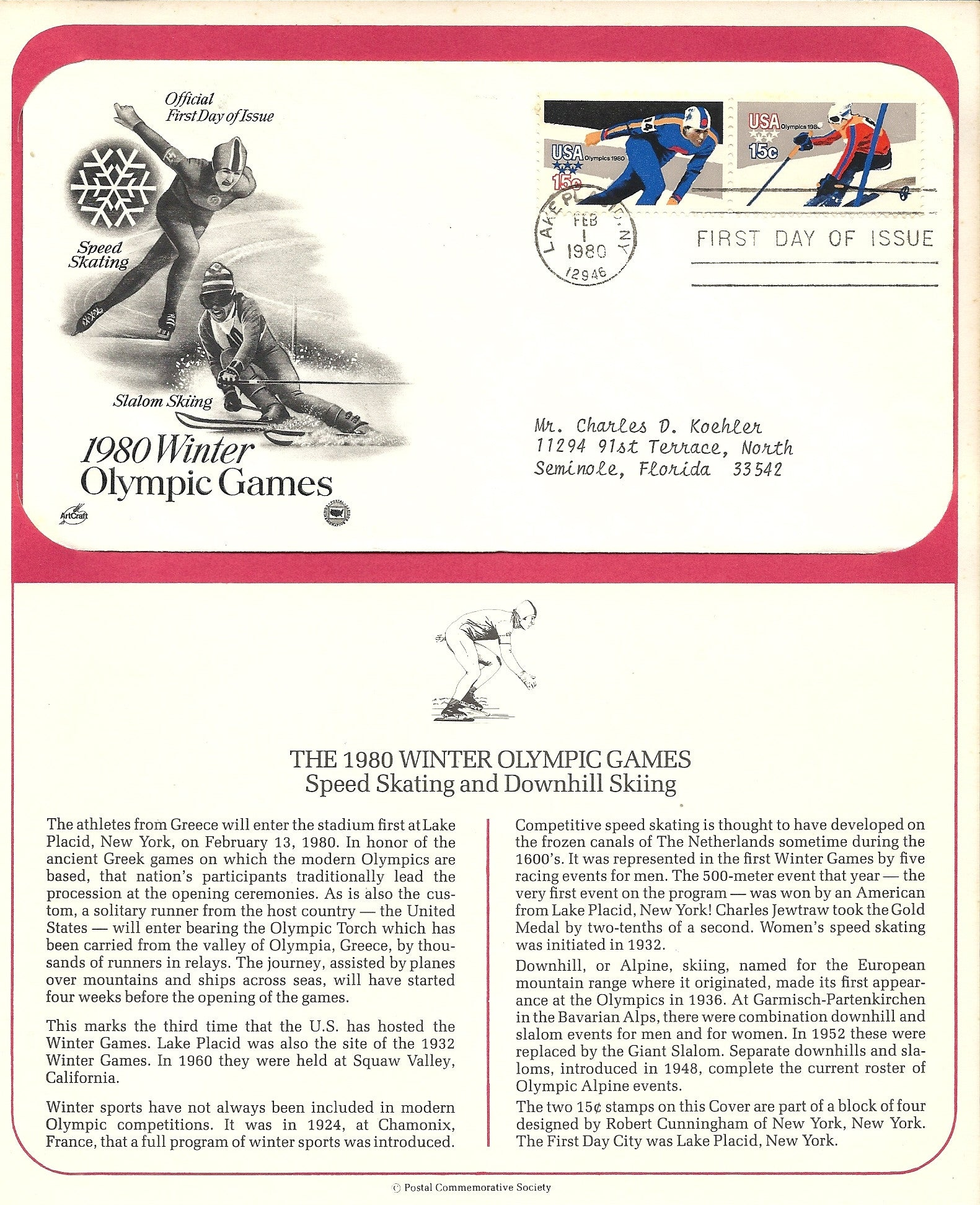 02 01 1980 FDC WH Winter Olympic Games Speed Skating  Downhill Skiing