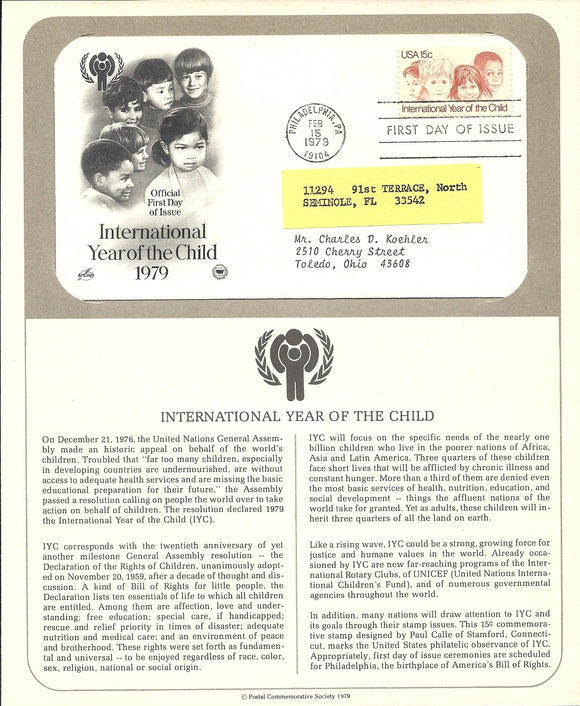 02 15 1979 FDC WH Year of the Child