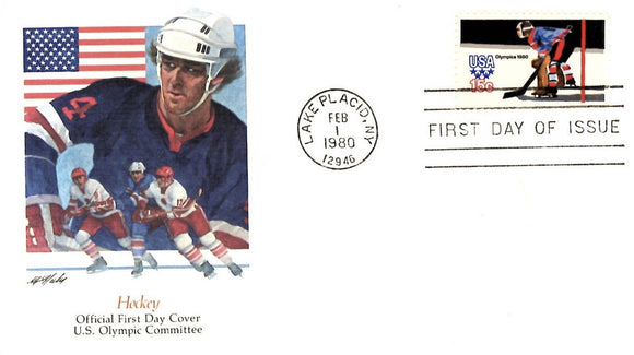 02 01 1980 FDC Olympic Hockey