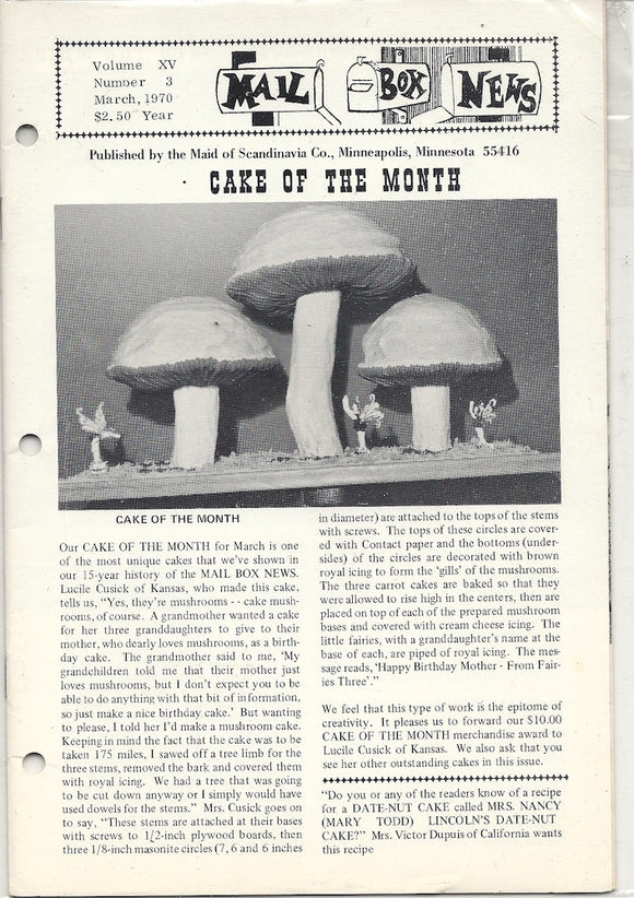 03 00 1969 Mail Box News Cake of the Month