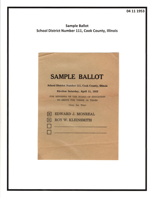 04 11 1953 Cook County Sample Ballot