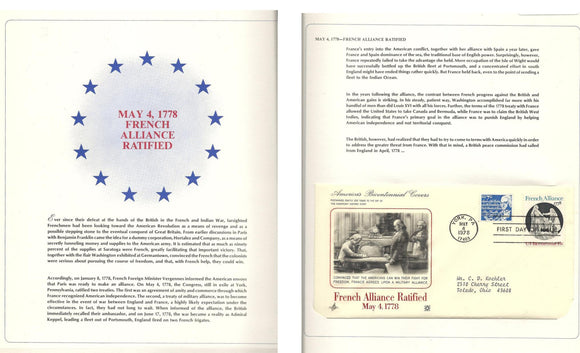 05 04 1978 FDC WH France Alliance Ratified 05 04 1778