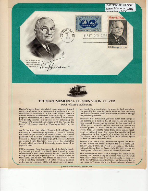 05 08 1973 FDC WH Truman Memorial - Atoms for Peace
