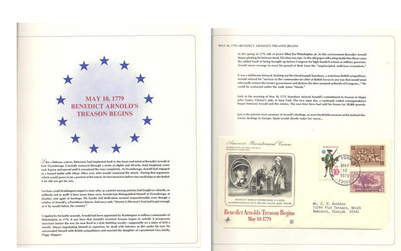 05 10 1979 FDC Benedict Arnold's Treason Begins on May 10 1779