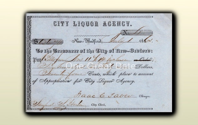 07 01 1861 Mayor Isaac Taber - City Liquor Agency