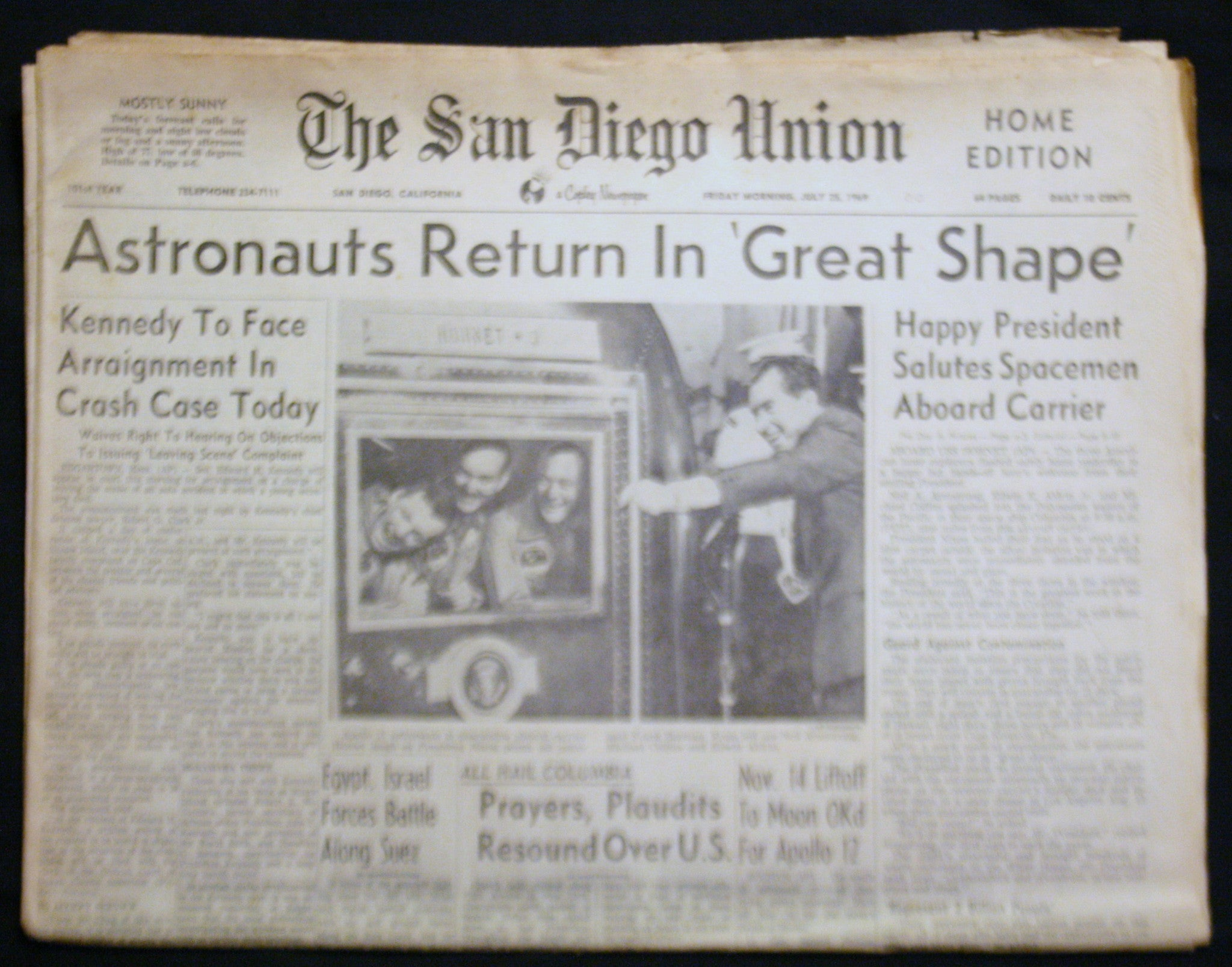 07 25 1969 NEWS San Diego Union - Astronauts Return Ted Kennedy