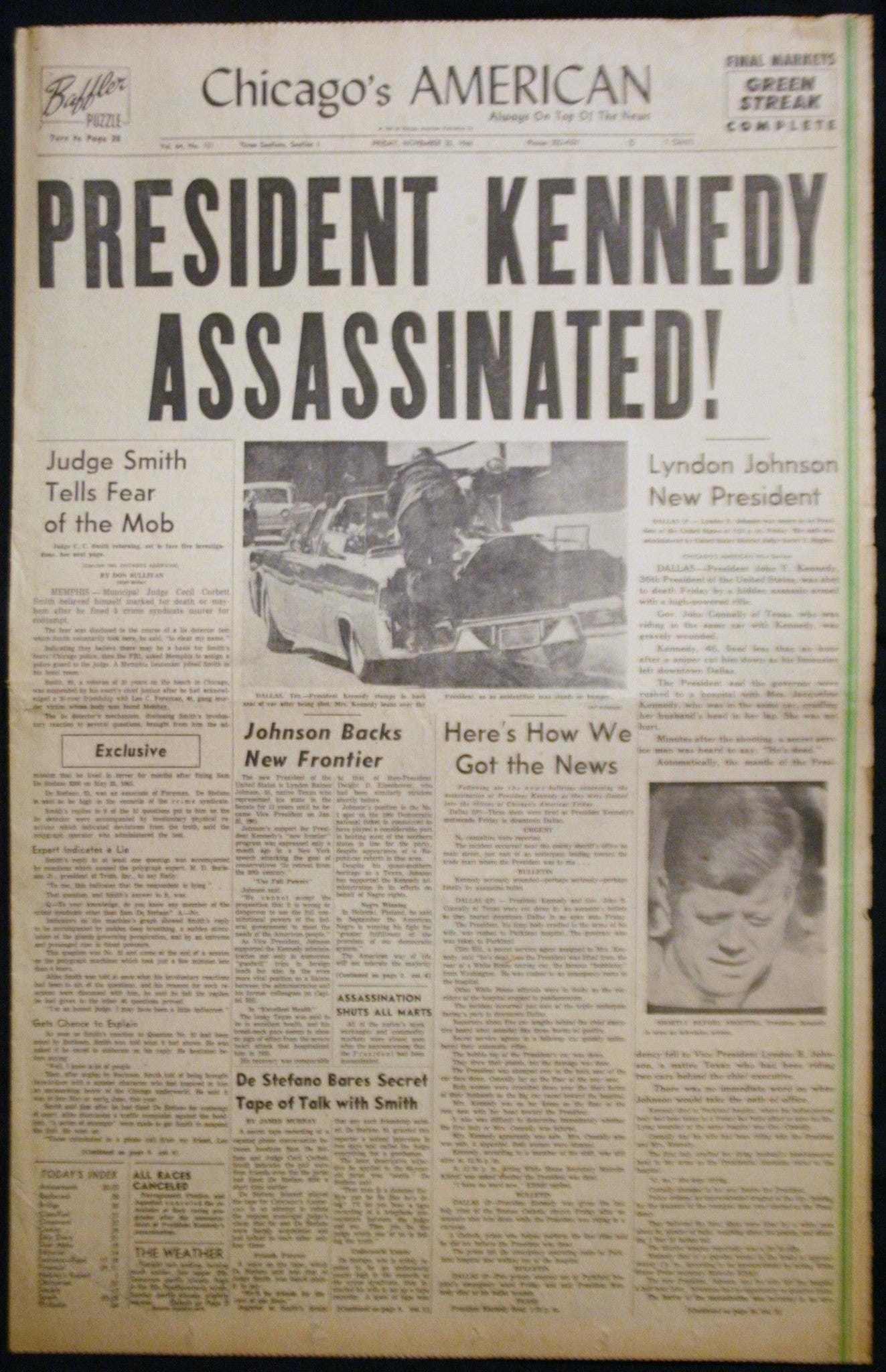 11 23 1963 NEWS John F Kennedy Assassinated
