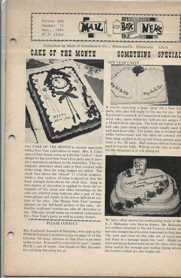 12 00 1968 Mail Box News Cake of the Month