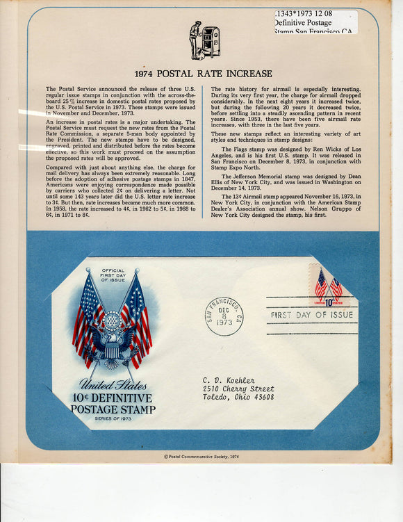 12 08 1973 FDC WH US Flag 10cent Definitive Postage Stamp