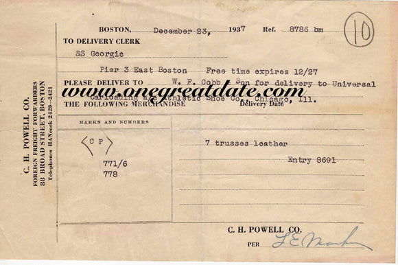 12 23 1937 SS Georgic shipping record