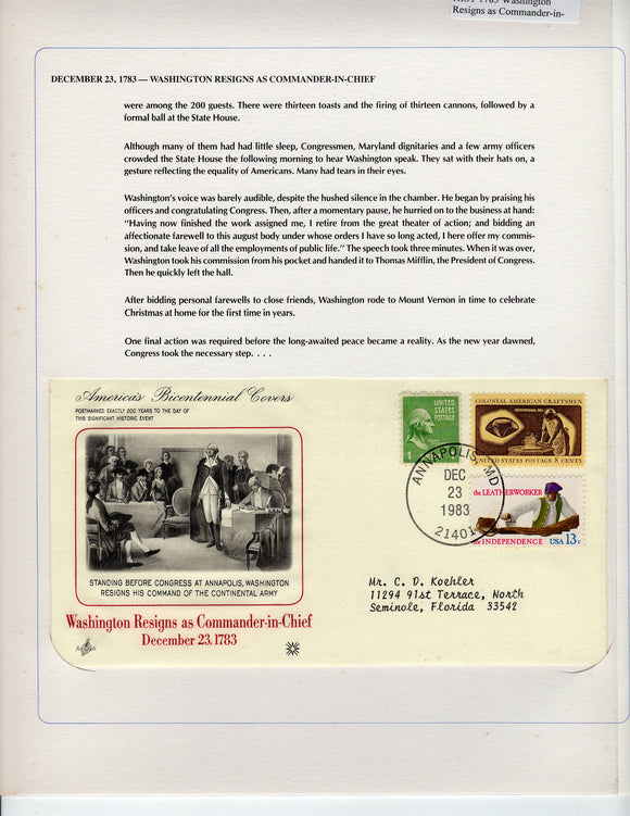 12 23 1983 FDC WH Washington Resigns as Commander-in-Chief 1783