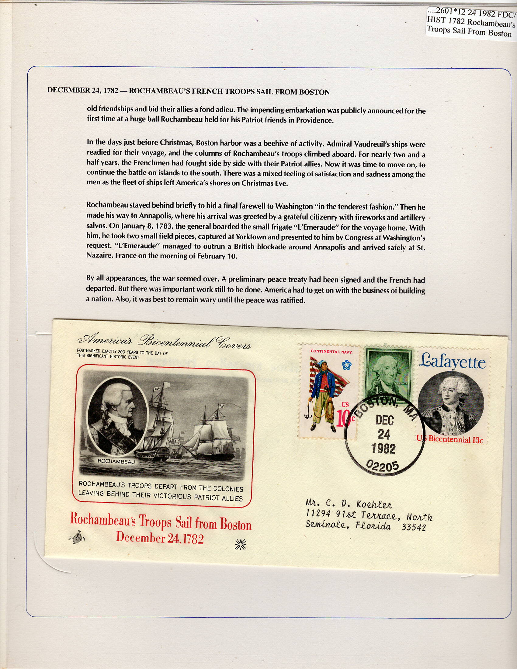 12 24 1982 FDC WH Rochambeau's Troops Sail from Boston 1782