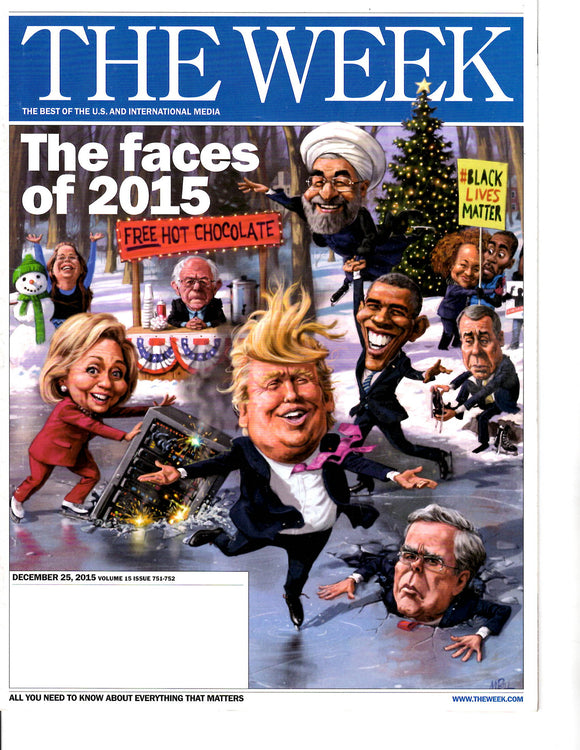 12 25 2015 The Week The faces of 2015 Clinton Obama Trump