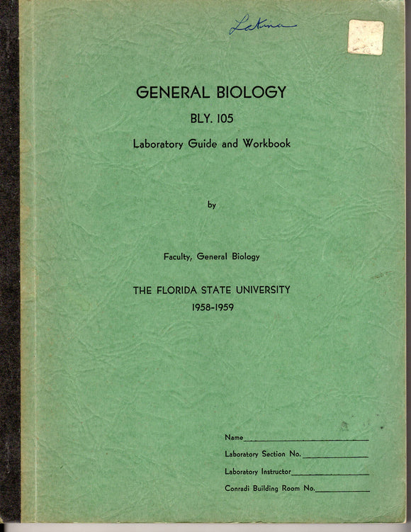 1958 FL State University - General Biology Lab Guide and Workbook